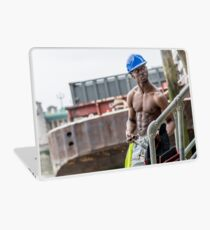 Workman at Low Tide on the Thames River with Frank Laptop Skin