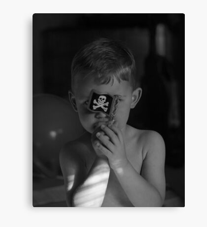 Son with pirate flag black and white image  Canvas Print