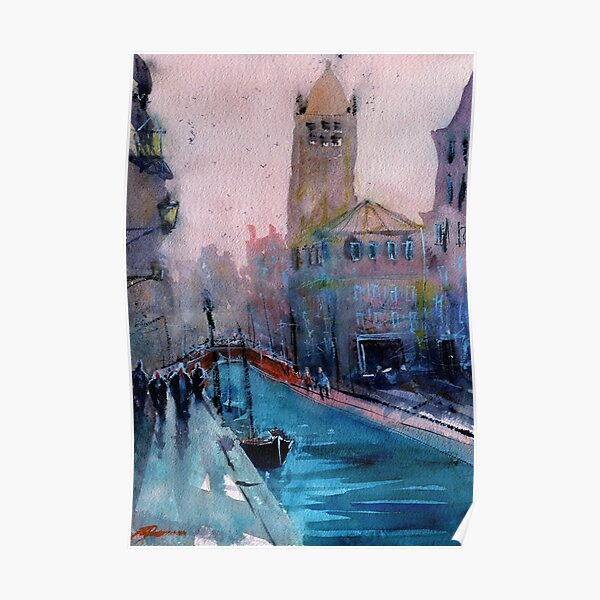 Venice - Boats and Buildings (Campo San Barnaba) in Watercolor Poster