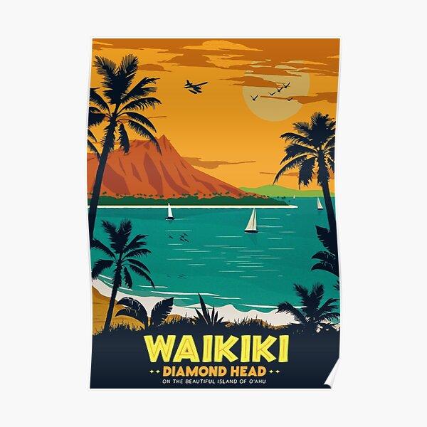 Affiche de voyage rétro Waikiki Diamond Head Poster