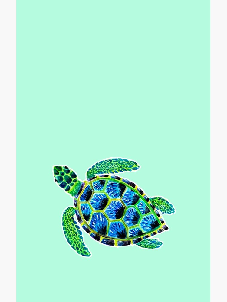 Psychedelic Green Sea Turtle in Acrylic by narwhalwall