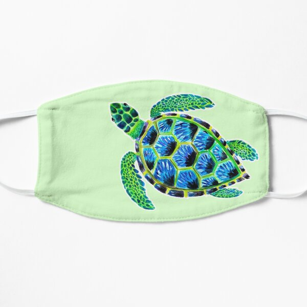 Psychedelic Green Sea Turtle in Acrylic Flat Mask