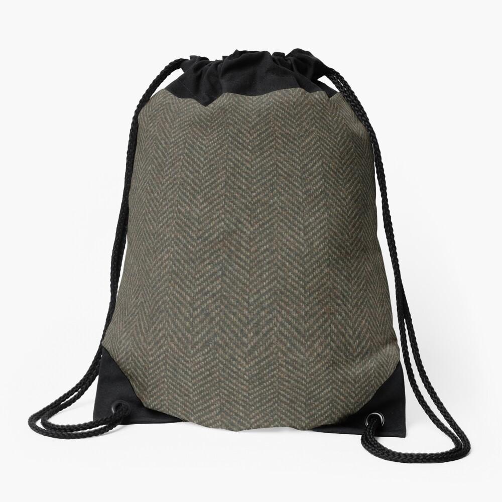 Herringbone Wool Tweed Fabric Drawstring Bag