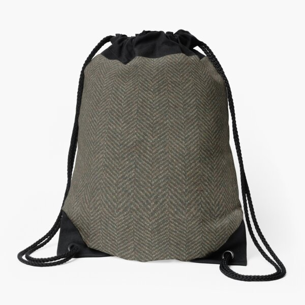 Herringbone Wool Tweed Fabric Drawstring Bag