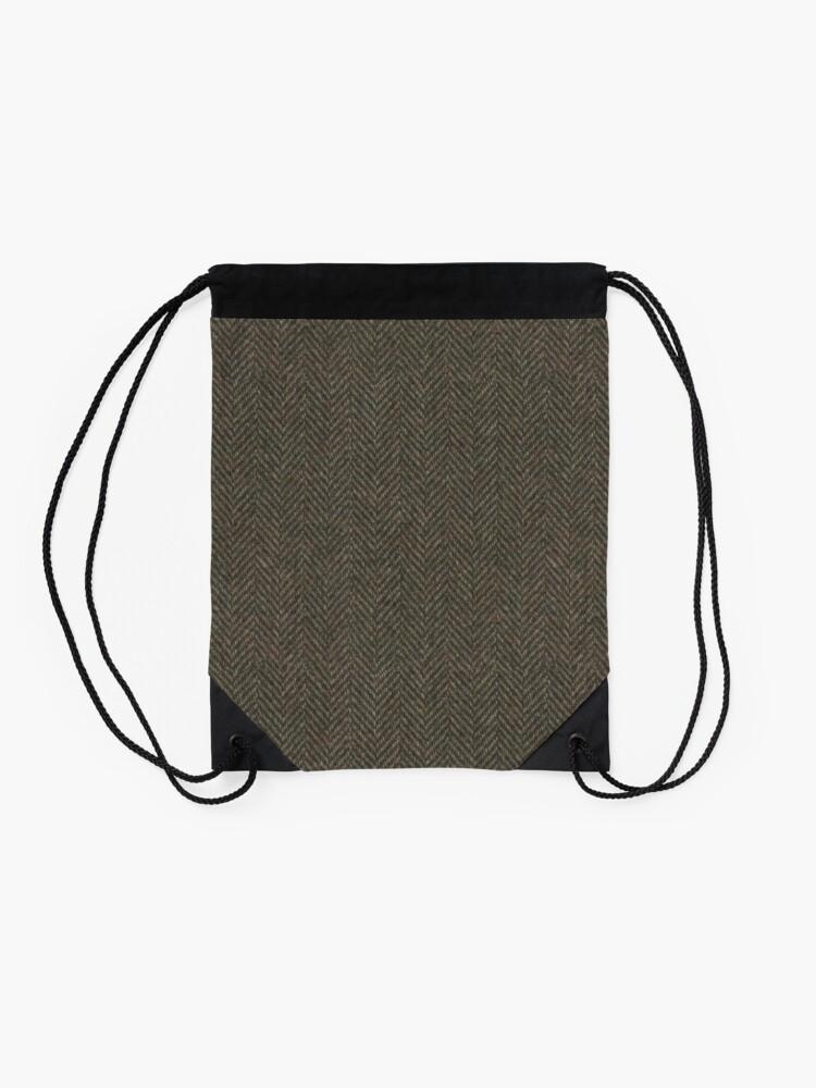 Alternate view of Herringbone Wool Tweed Fabric Drawstring Bag