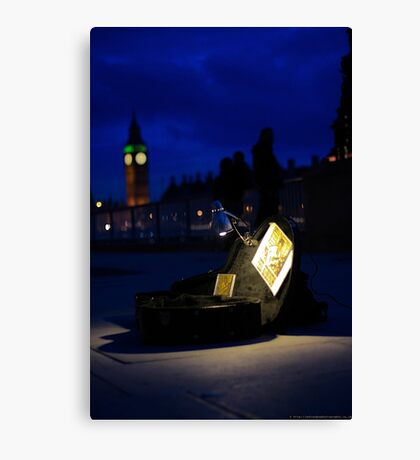 busking late at night next to the big ben Canvas Print