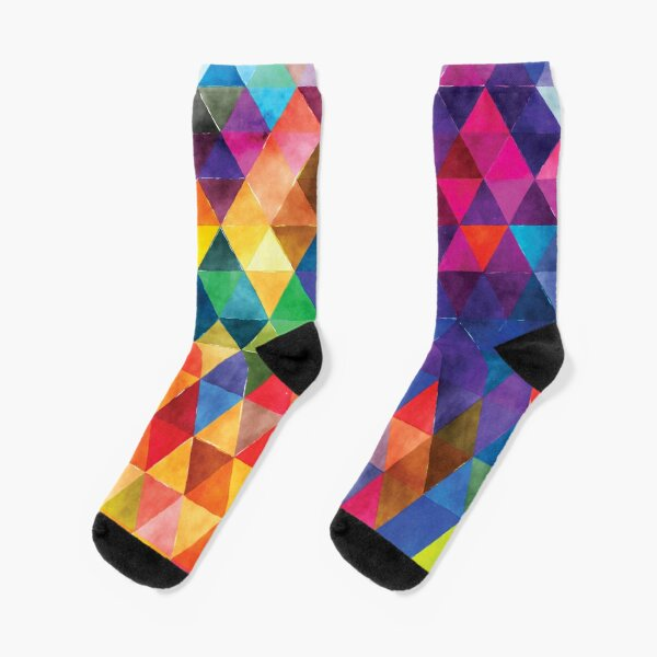 Watercolor Triangles Pattern Bright Colors Socks