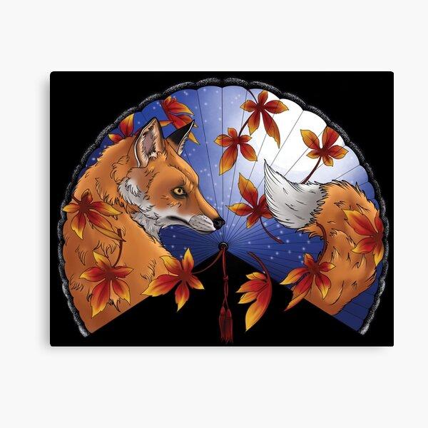Fox in autumn fan Canvas Print