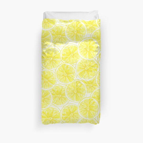 Lemon slices pattern watercolor Duvet Cover