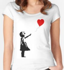 Girl with Balloons Women's Fitted Scoop T-Shirt