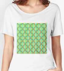 Happy Alien and Daisy Grunge Pattern Women's Relaxed Fit T-Shirt