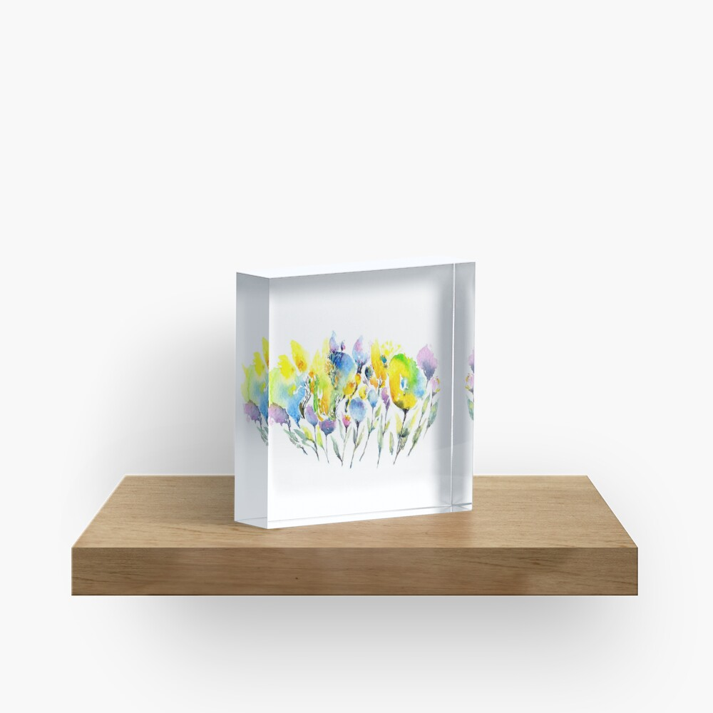 Spring Flowers - Purple Yellow and Green Acrylic Block