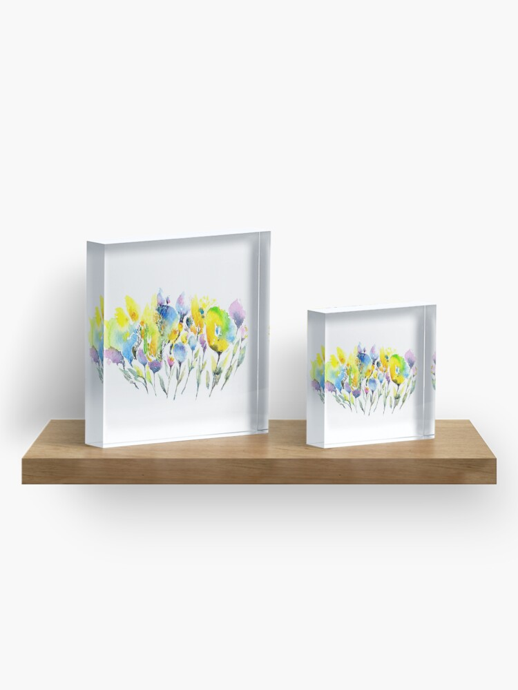 Alternate view of Spring Flowers - Purple Yellow and Green Acrylic Block