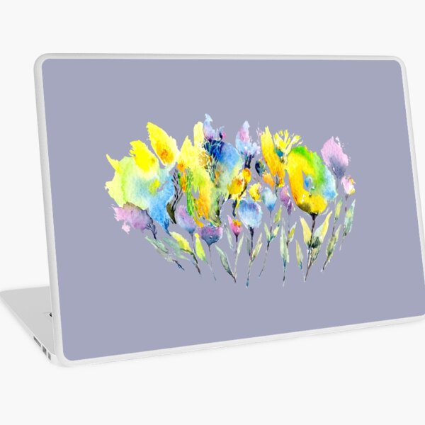 Spring Flowers - Purple Yellow and Green Laptop Skin