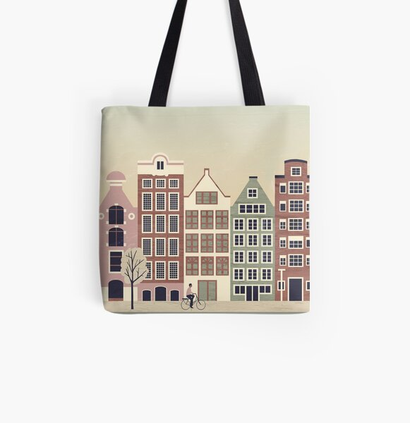 Amsterdam Travel Poster Allover-Print Tote Bag