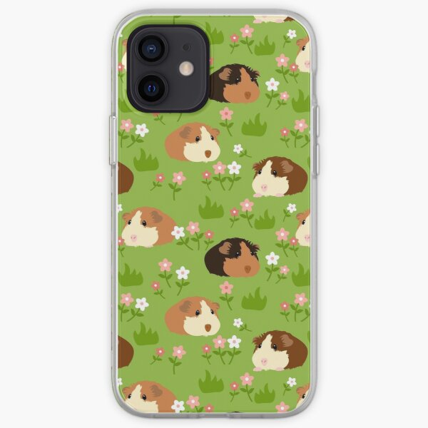 Guinea Pig and Flowers - Green iPhone Soft Case