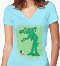 The Giving Treebeard on Lime Women's Fitted V-Neck T-Shirt