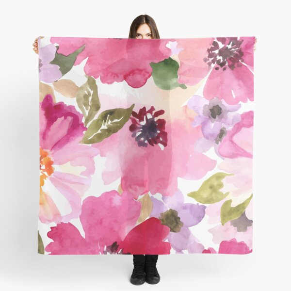Watercolor Flowers Pink Fuchsia Scarf