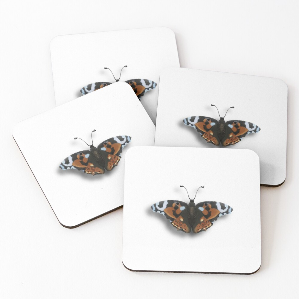 realistic butterfly Coasters (Set of 4)