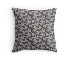 Ginkgo Vector Black on Warm Grey Throw Pillow