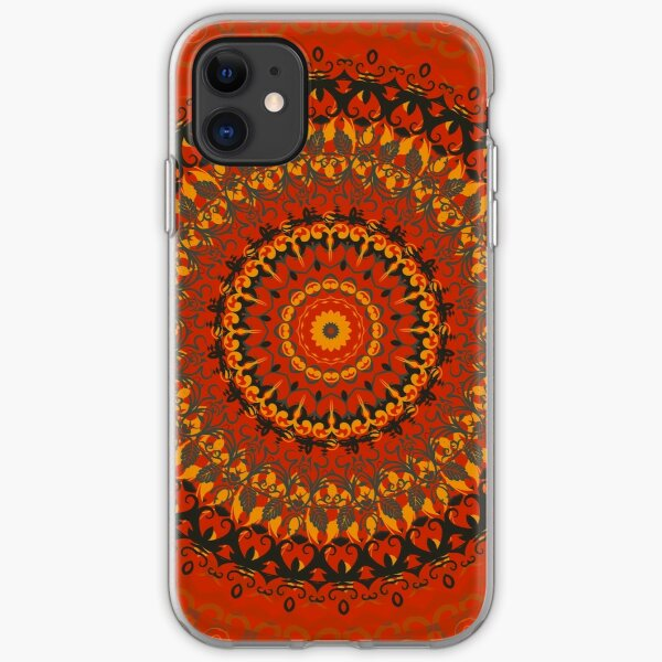 Autumn Leaves Rust Mandala iPhone Soft Case