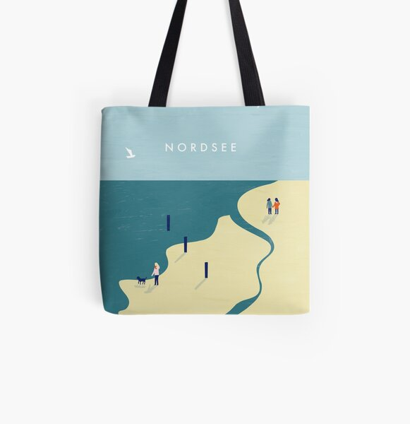 Nordsee Travel Poster Allover-Print Tote Bag