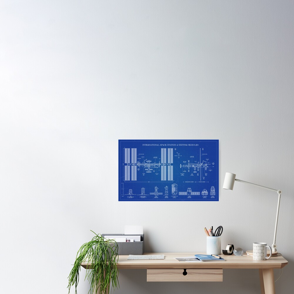 International Space Station (ISS) & Visiting Vehicles (Blueprint) Poster