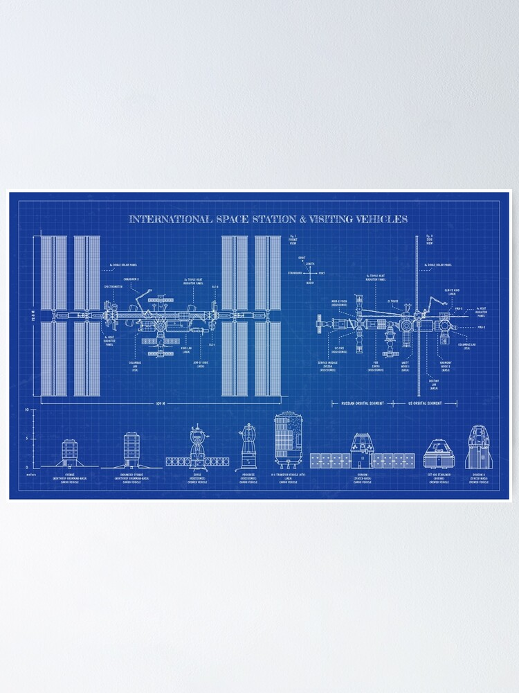 Alternate view of International Space Station (ISS) & Visiting Vehicles (Blueprint) Poster