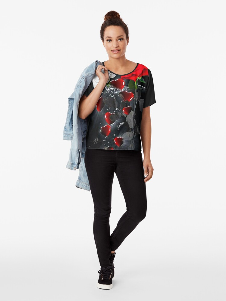 Alternate view of Emerging Heart and Rose Chiffon Top