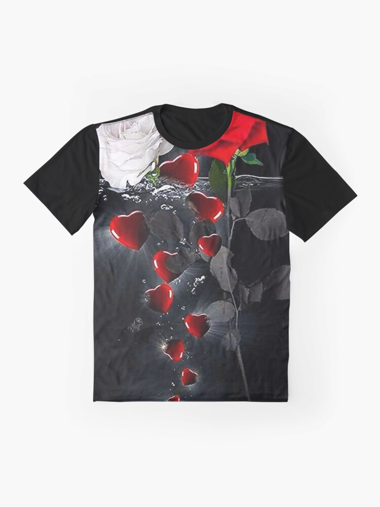 Alternate view of Emerging Heart and Rose Graphic T-Shirt