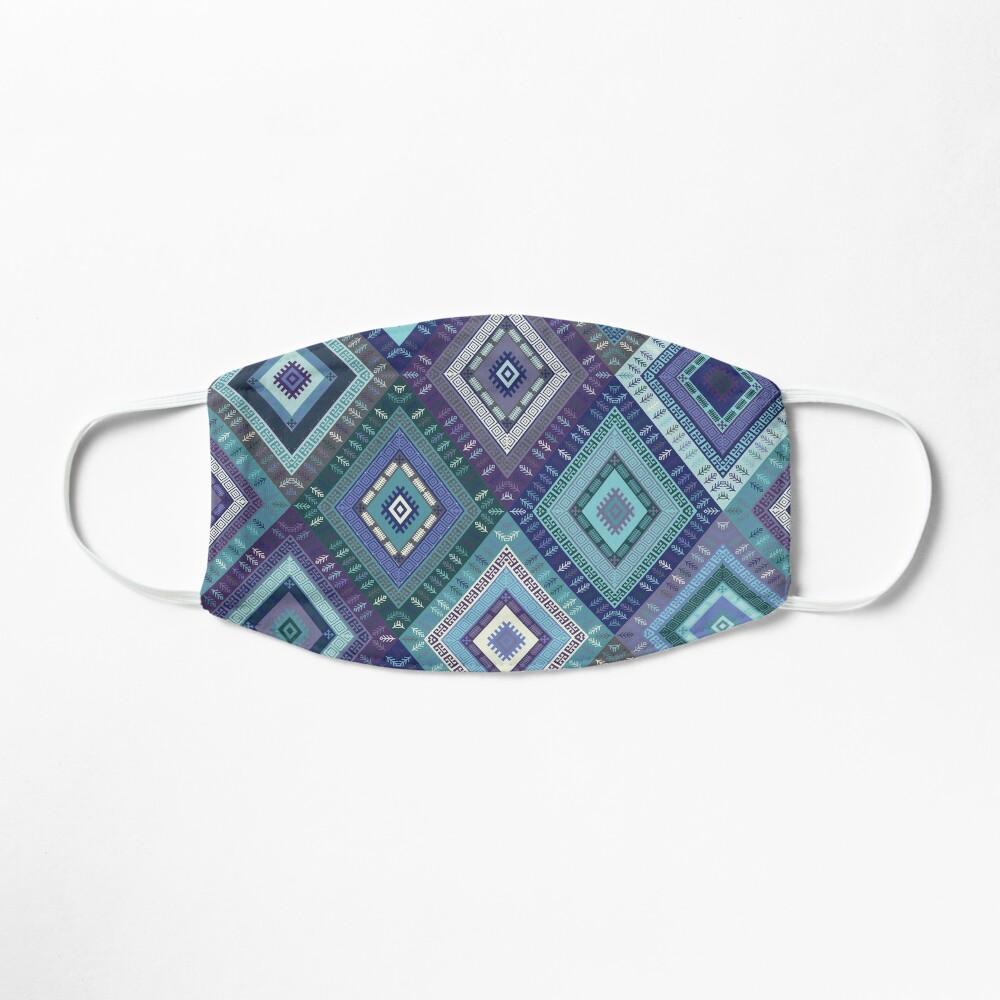 Kilim Diamonds - Blue, elegant pattern by Cecca Designs Mask