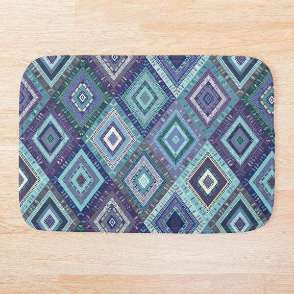 Kilim Diamonds - Blue, elegant pattern by Cecca Designs Bath Mat