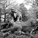 London - Crystal Palace - Dinosaurs Peering  by rsangsterkelly