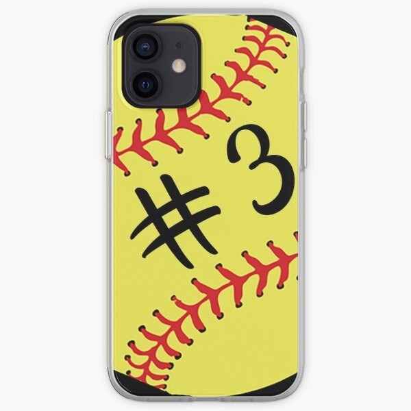 Softball Player Back No Number 3 #3 Ball Sport Sticker Gift iPhone Soft Case