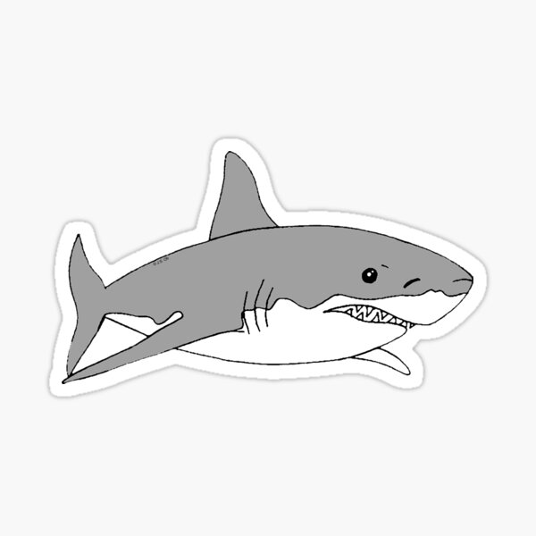 Grey shark in black Sticker