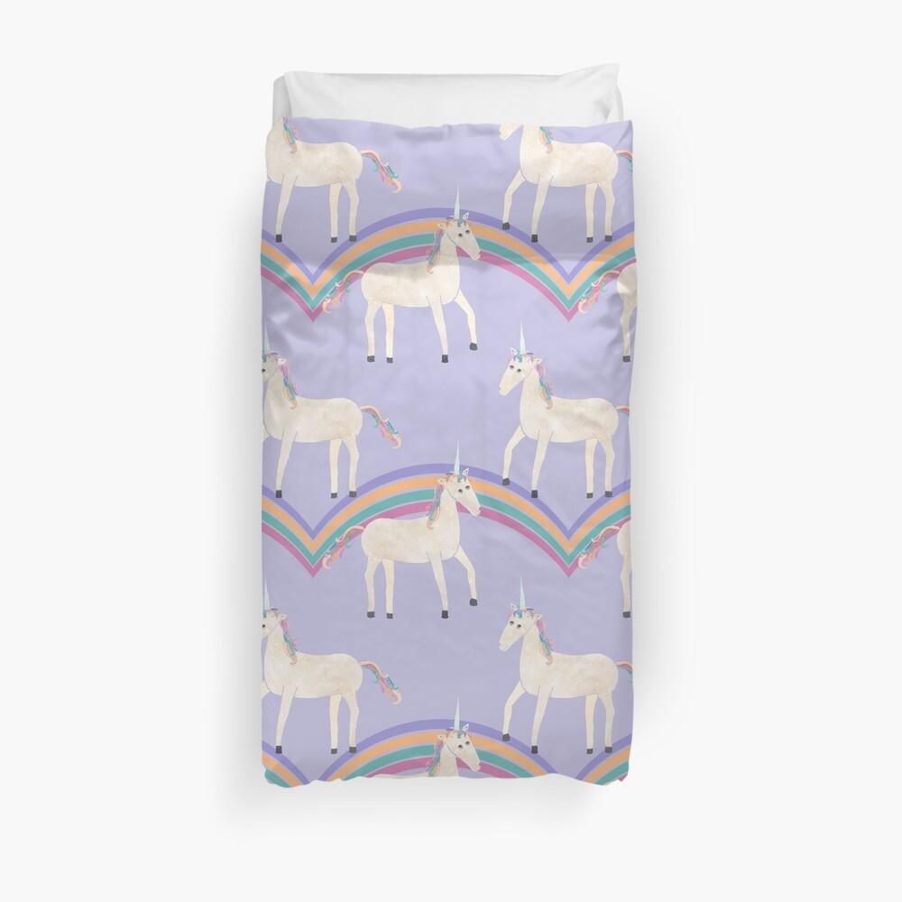 Unicorn Pattern on Pastel Purple Duvet Cover