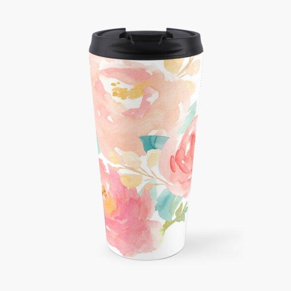 Peonies Watercolor Bouquet Travel Mug