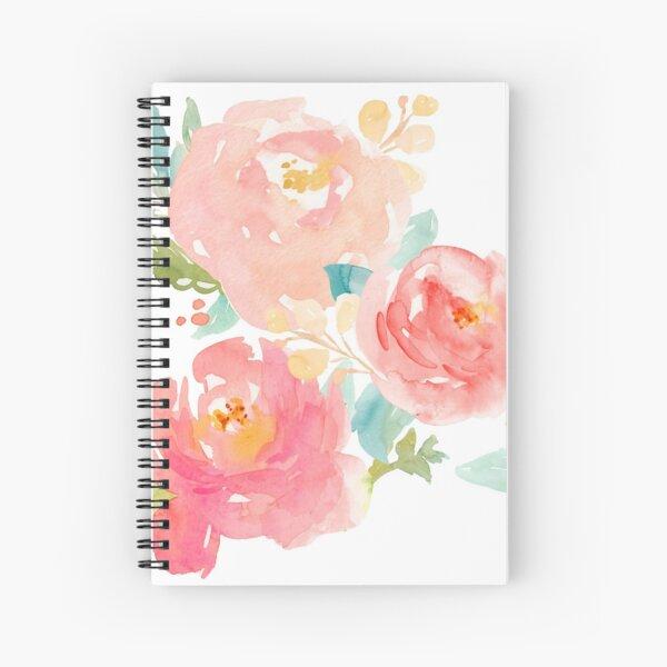 Peonies Watercolor Bouquet Spiral Notebook