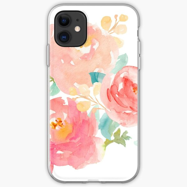 Peonies Watercolor Bouquet iPhone Soft Case