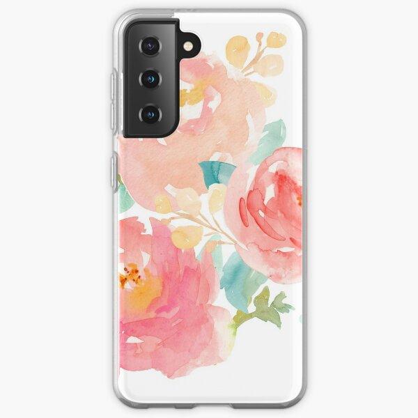 Peonies Watercolor Bouquet Samsung Galaxy Soft Case