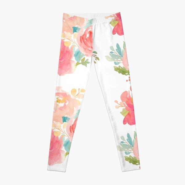 Peonies Watercolor Bouquet Leggings