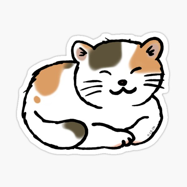 Sleepy calico kitty cat Sticker