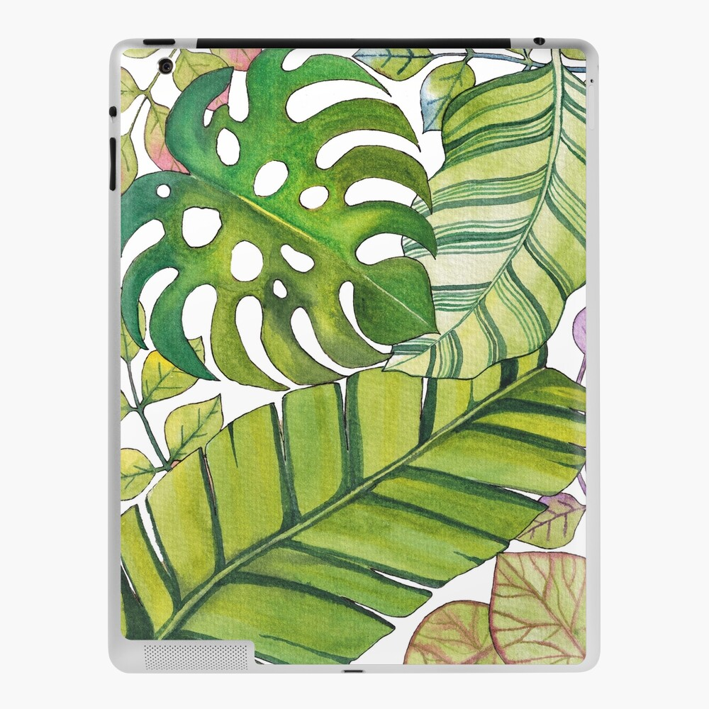 Tropical Leaves Art In Watercolor Ipad Case Skin By Oirabot Redbubble