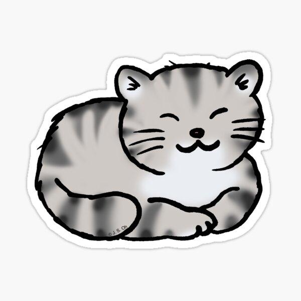 Grey tabby cat kitten Sticker