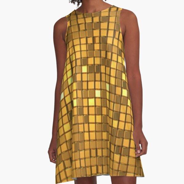 Golden shiny disco ball A-Line Dress