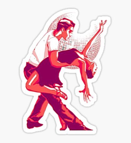 Strictly Salsa Couple Dancing With Glitter Ball Sticker