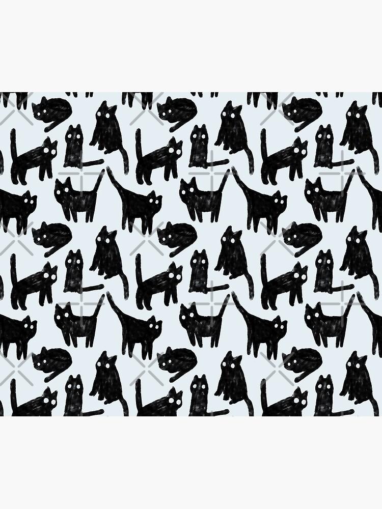 Gouache black cats pattern.  by kostolom3000
