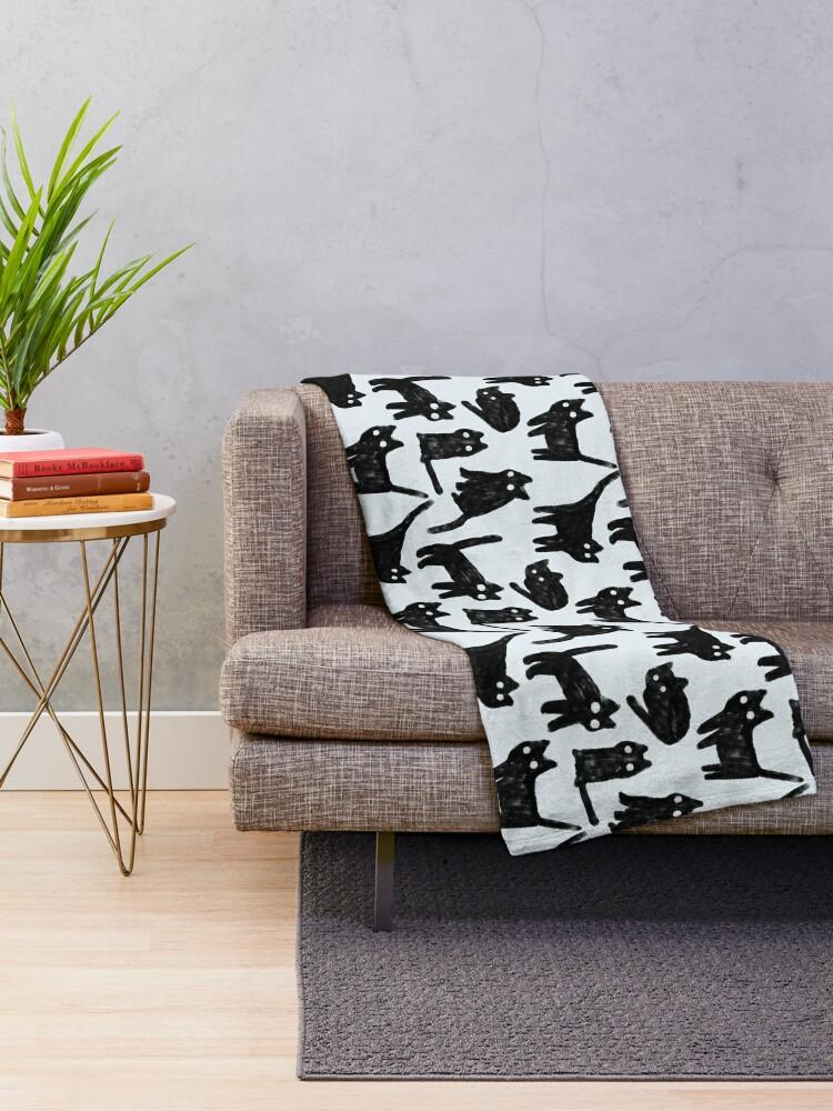 Alternate view of Gouache black cats pattern.  Throw Blanket