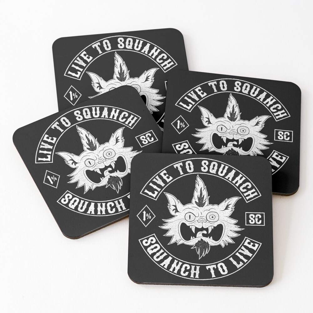 Squanch Club, one color Coasters (Set of 4)