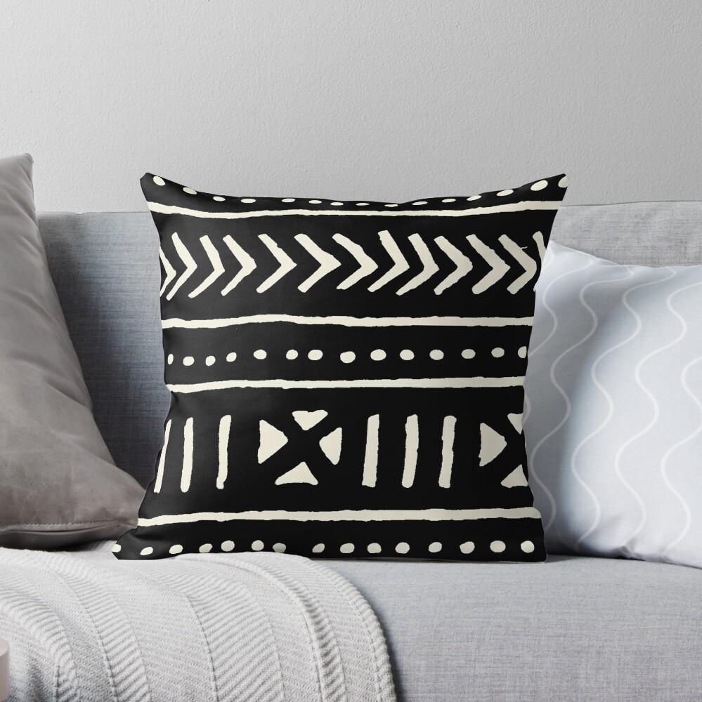 tela de barro africano en blanco y negro Cojín